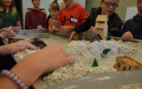 Students learning about erosion in a simulation on October 24.