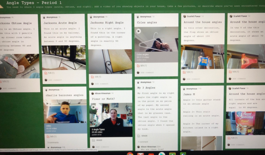 Mrs. Hinesman and Mr. Johnson's students using Padlet to connect in the virtual learning environment. Photo pulled from Mrs. Hinesman's Twitter account.